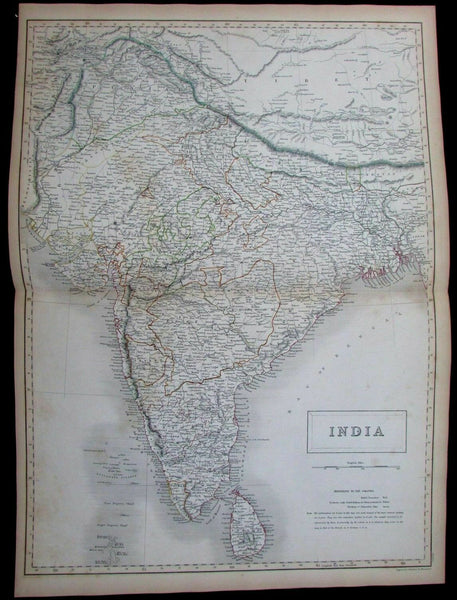 India Tibet Ceylon Sri Lanka Mysore Madras 1844 Black Hughes Hall large map