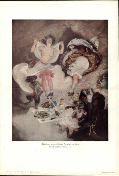 Faun Trickster Torment Old Man & Beautiful Nude 1913 antique erotic female print