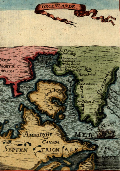 Canada North America Arctic ships 1719 Mallet miniature map beautiful hand color