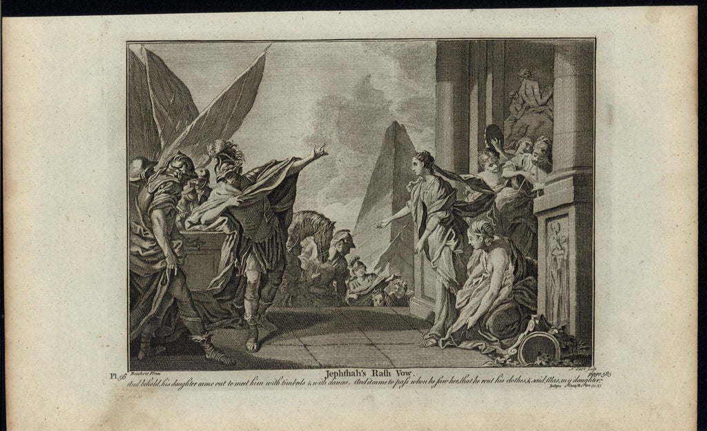 Jephthah Vow Promises Daughter to God c.1750 antique copper engraved Bible print