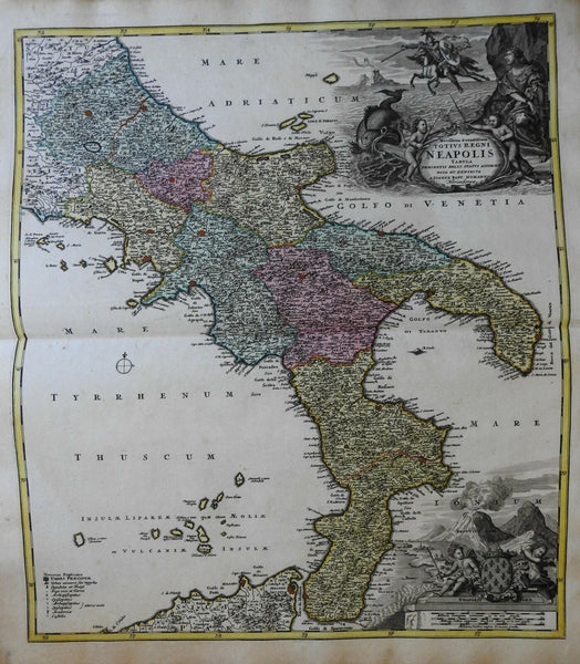 Kingdom of Naples Southern Italy Mt. Vesuvius c. 1740 Homann decorative map
