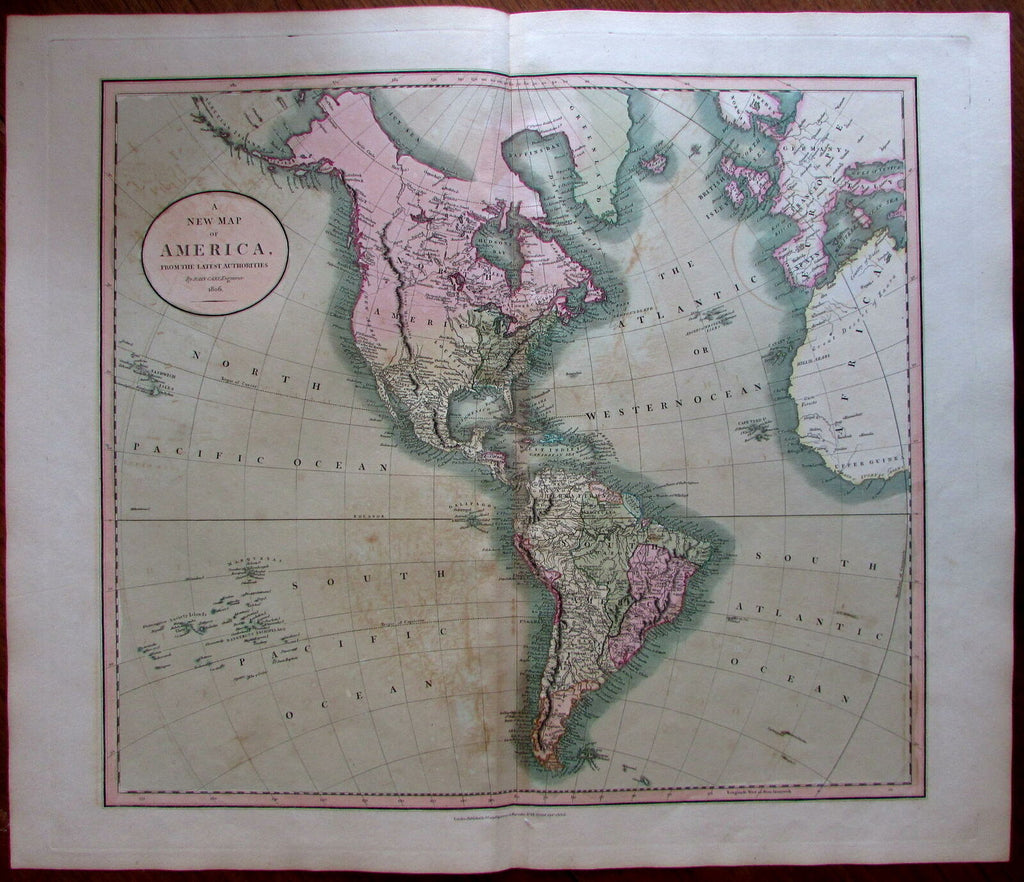North & South America Canada 1806 Cary lovely original hand color antique map