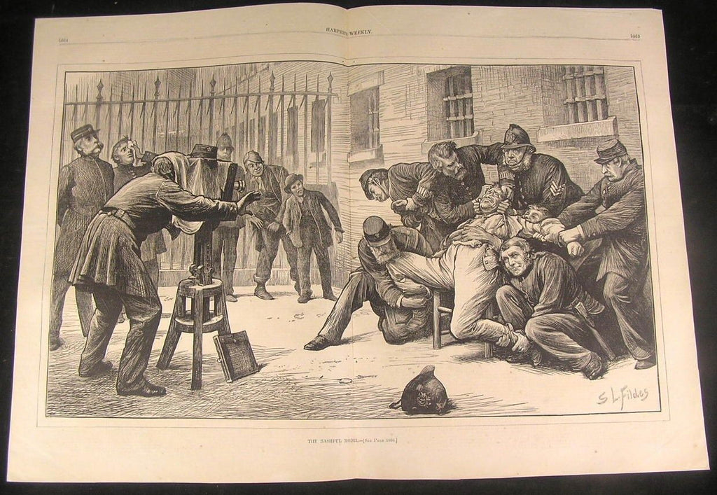 Bashful Model Policemen Prisoner 1873 antique wood engraved large print
