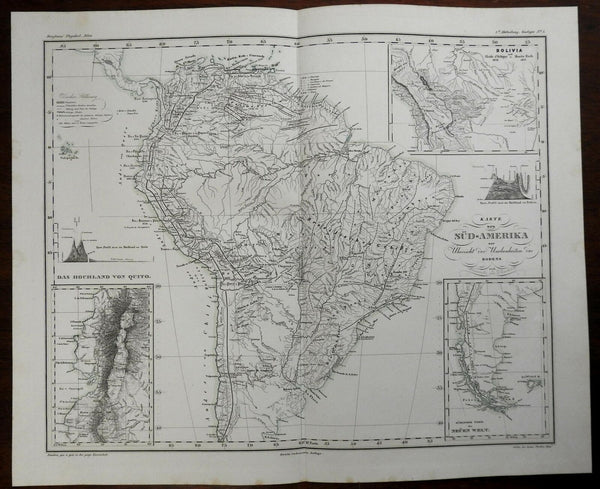 South America Empire of Brazil Bolivia Quito Highlands Andes Mountains 1850 map
