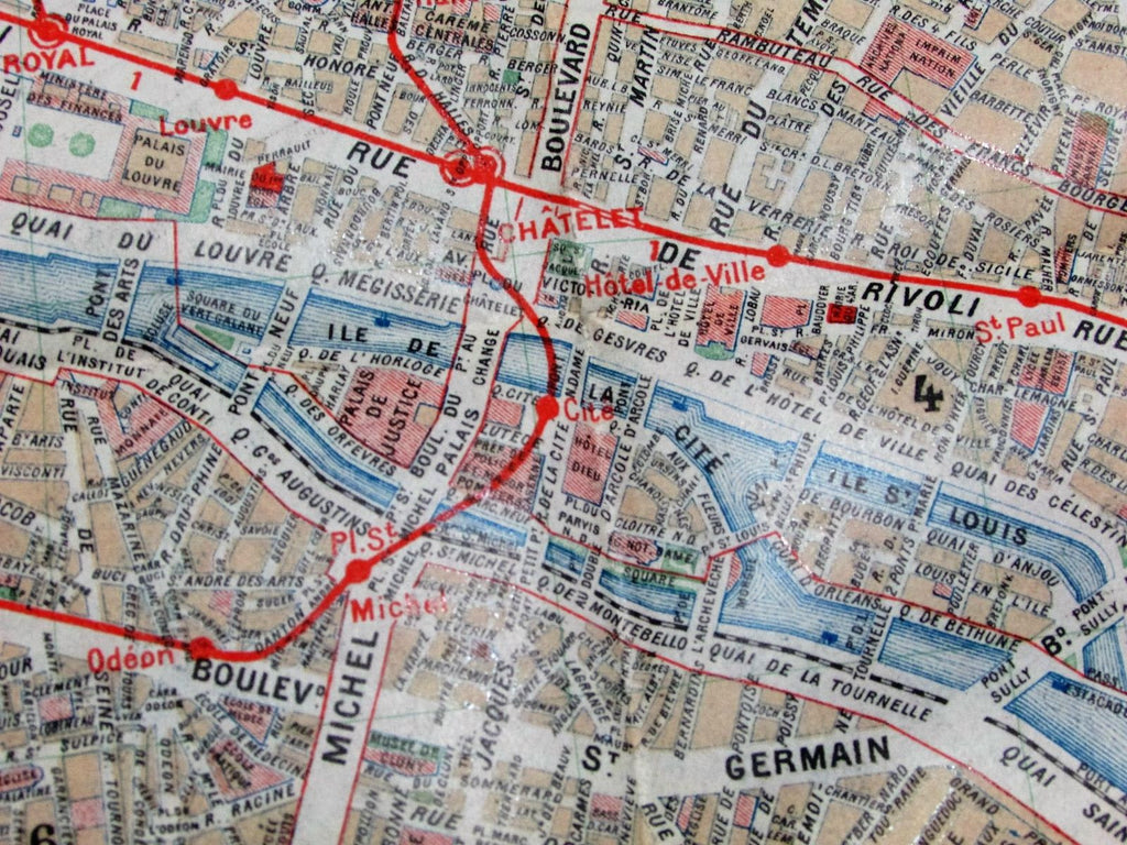 Paris France big city plan transportation autobus trains c.1900 antique 2 maps
