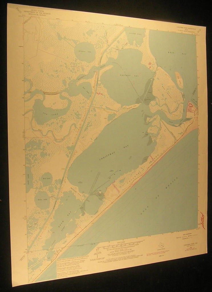 Christmas Point Texas Alligator Lake Cold Pass 1977 antique color lithograph map