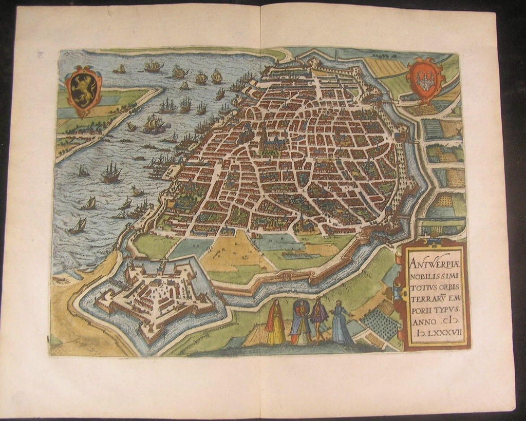 Antwerp Belgium 1582 Guicciardini Plantin beautiful antique color city plan map
