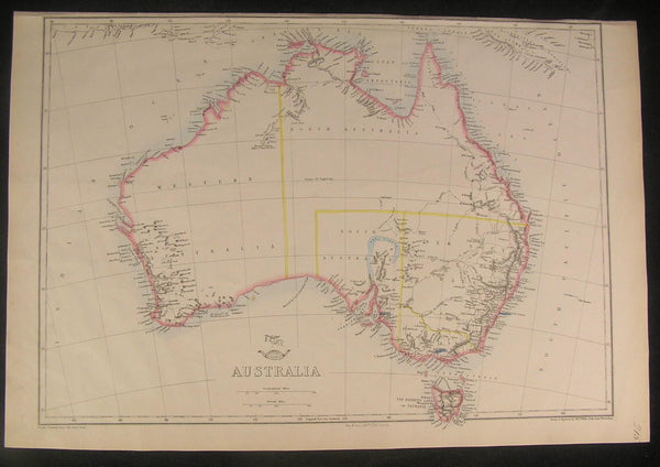 Australia huge hooked Lake Torrens c.1863 Weller scarce old vintage antique map