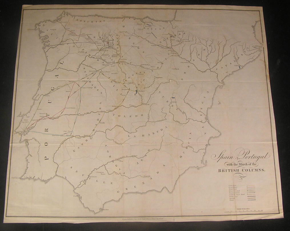 Spain & Portugal March of the British Army 1809 old engraved hand color map