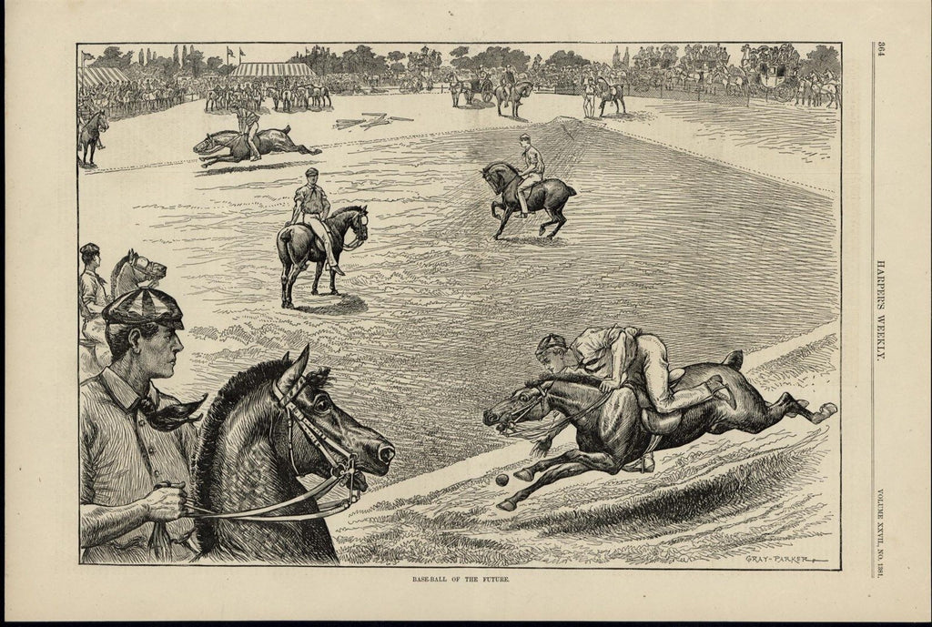 Baseball on Horseback Unique Sporting Event 1883 great old print for display
