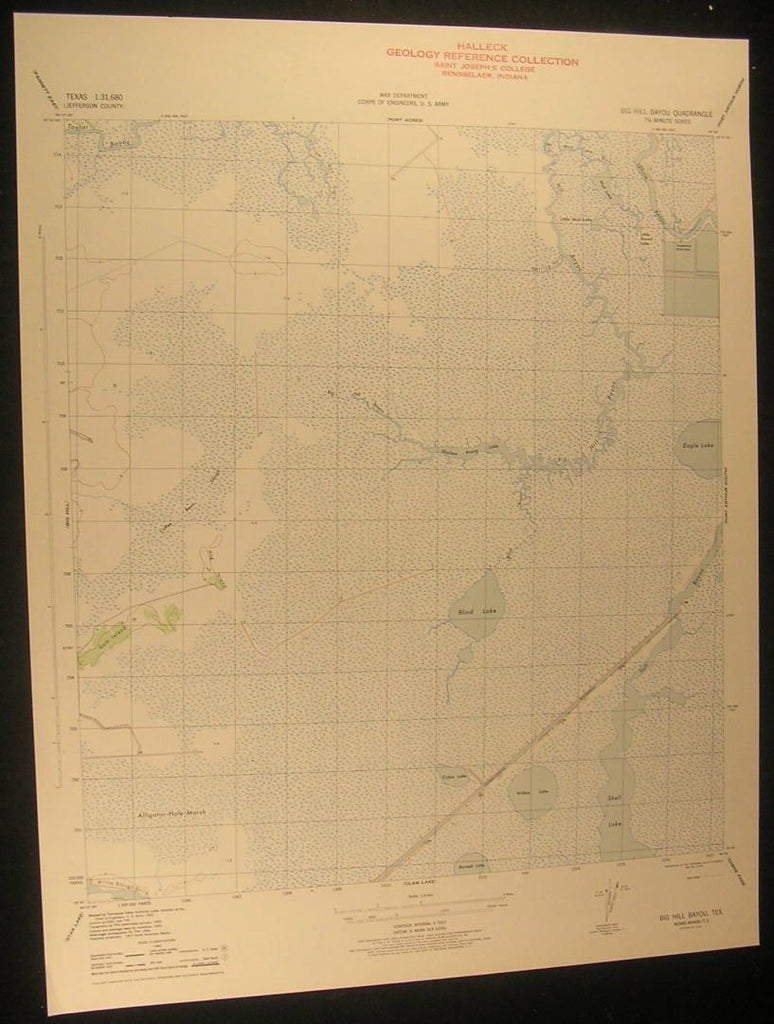 Big Hill Bayou Eagle Lake Texas Gum Island 1945 antique color lithograph map