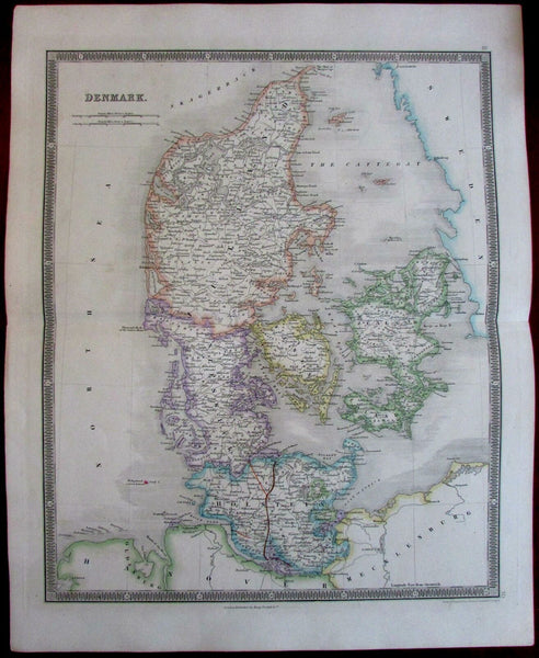 Denmark 1842 Teesdale fine old vintage antique hand color map