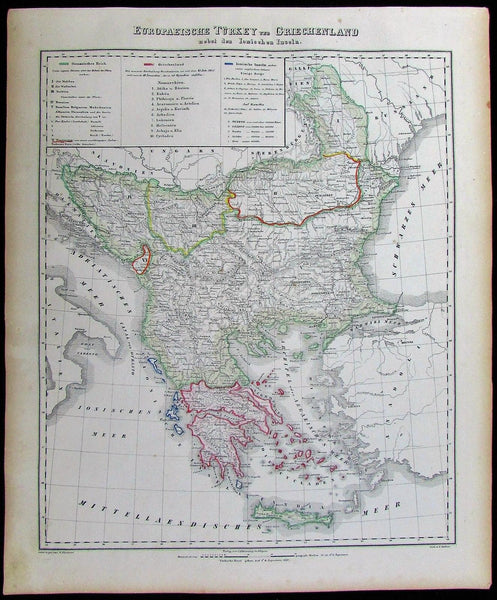 Balkans Greece Romania Serbia Bosnia Croatia 1852 Flemming old antique color map