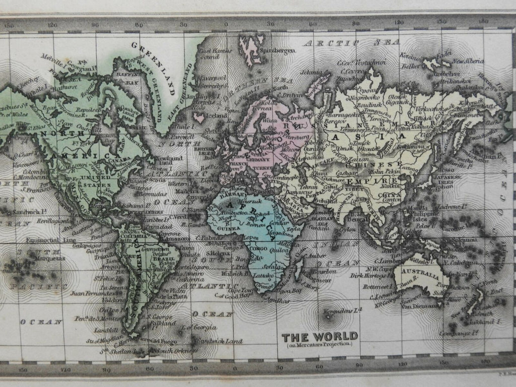 World Map on Mercator's Projection 1832 Carey & Lea miniature map