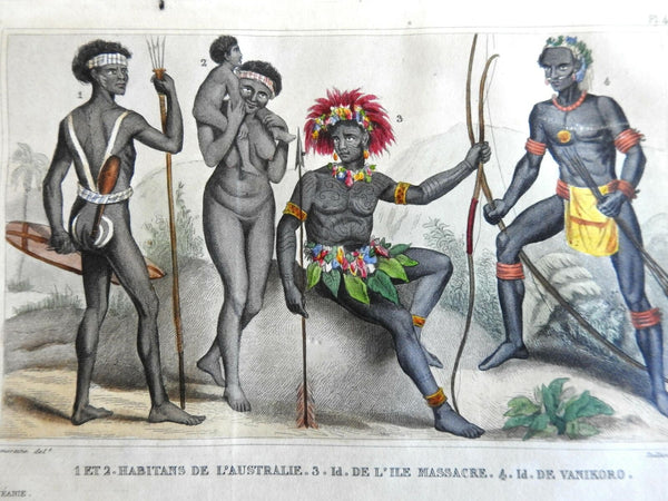 Aborginial People Pacific Islanders Costume print 1839 scarce French ethnic view