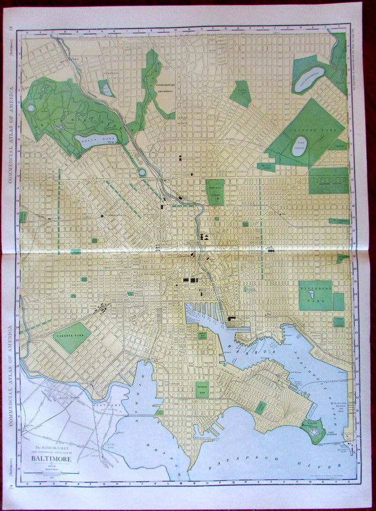 Baltimore Maryland city plan c.1912 huge Rand McNally detailed map