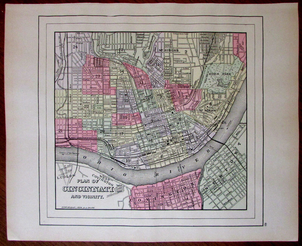 Cincinnati Ohio 1894 nice antique city plan map A.L. Smith uncommon v. detailed