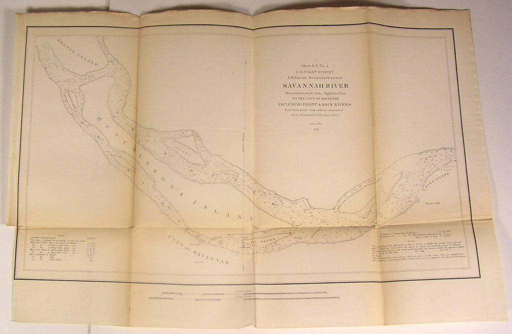 Savannah River Hutchinson's Argyle Islands 1851 U.S.C.S. Nautical chart old map