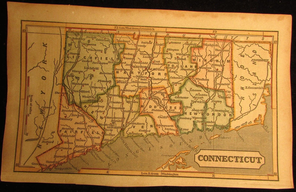 Connecticut state 1853 Phelps cerographic antique hand color map