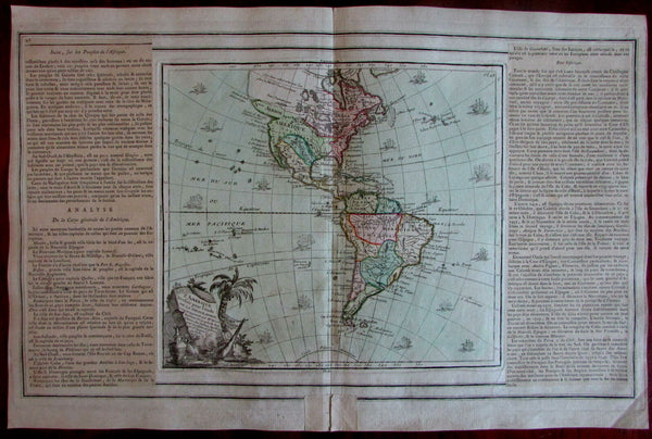 Americas distorted coast shape above California 1764 Brion Desnos tall ships map