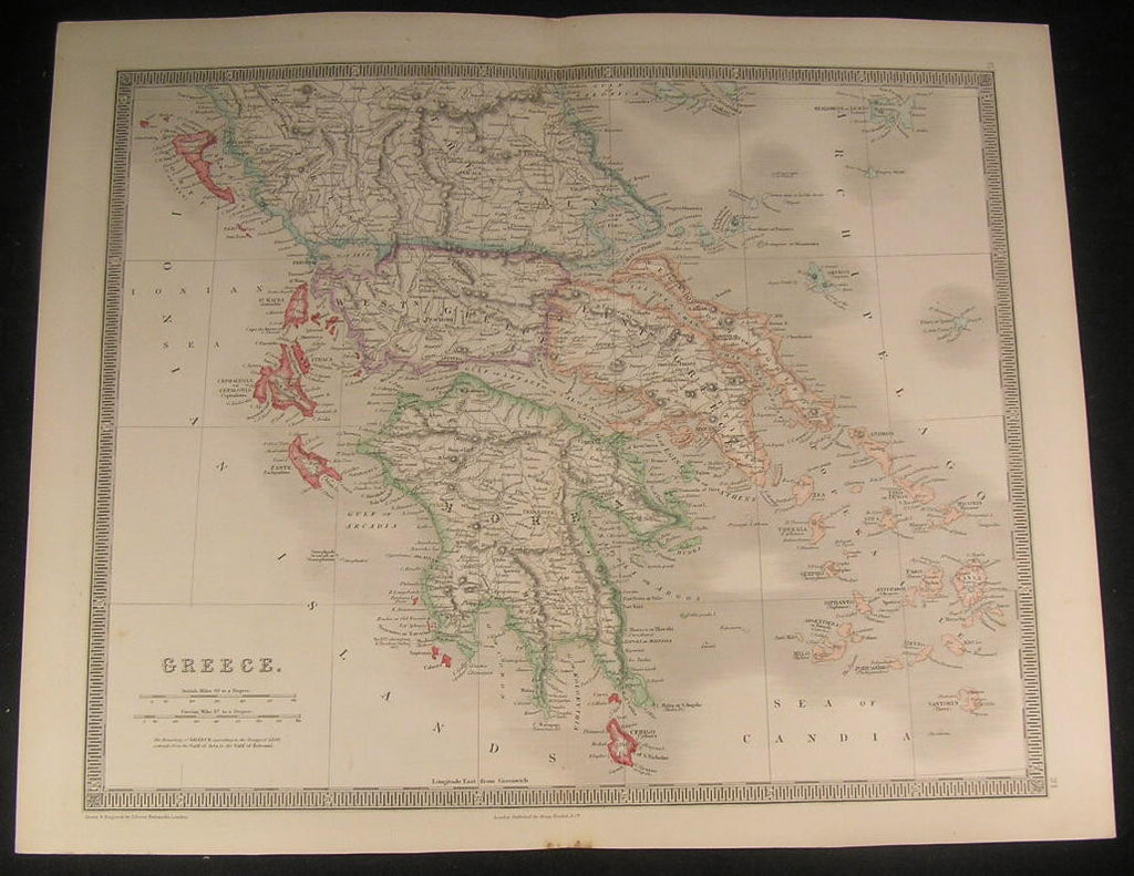 Greece Peloponnese Peninsula Candia Sea 1843 antique Teesdale hand color map