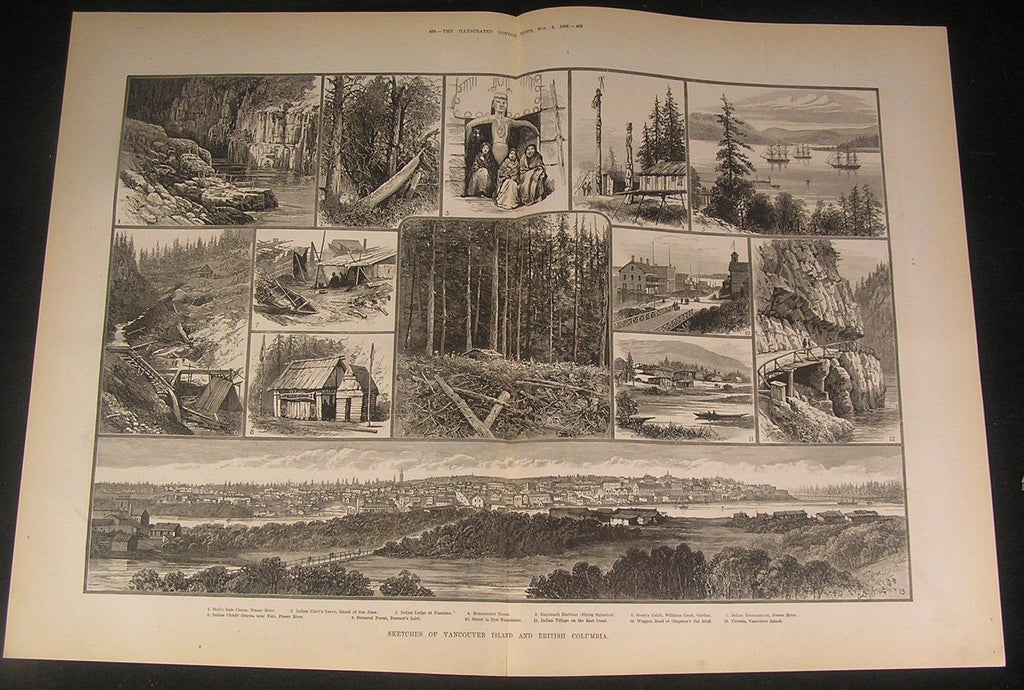 Vancouver British Columbia Canada Gate Canyon 1882 antique wood engraved print