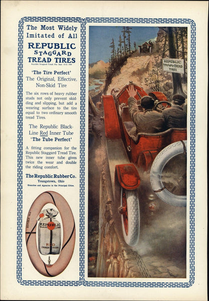 early automobile Republic Tires cars meeting 1912 vintage Harper's color print