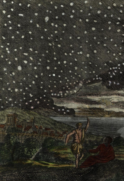 Celestial print starry night sky heavens 1719 Mallet lovely hand colored print