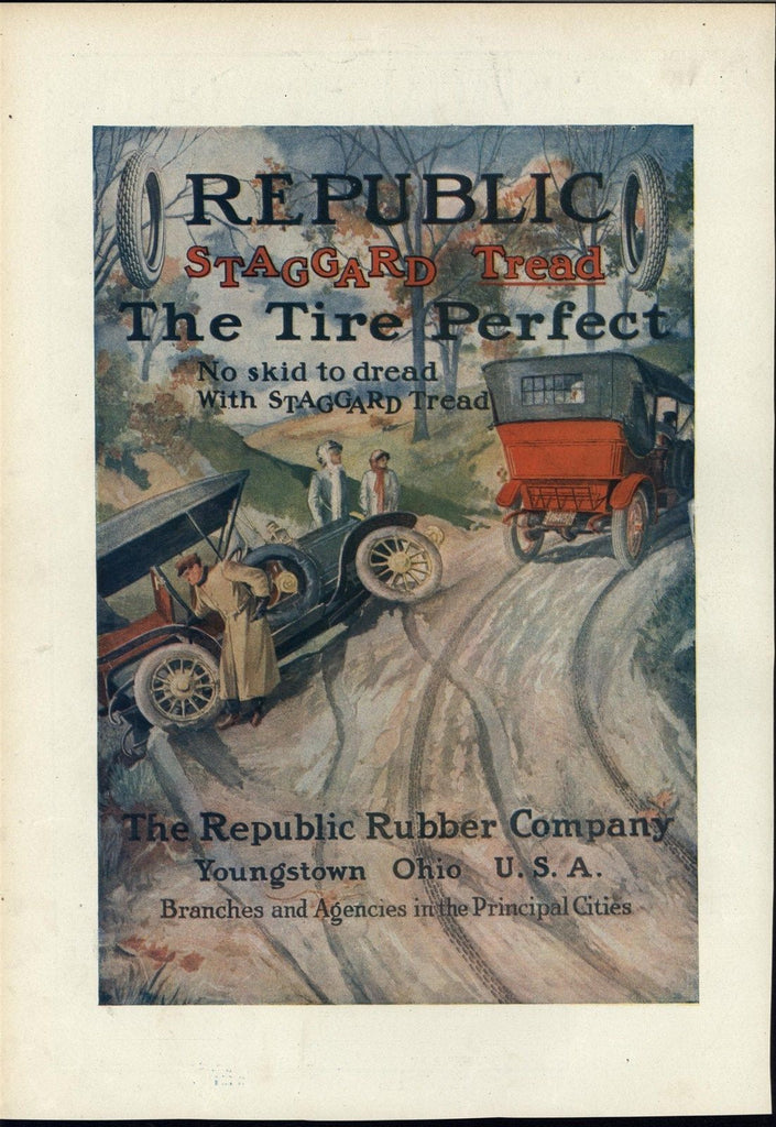 Republic Tire Automobile Accident Skidded Off Road Decorative Advertisement 1911