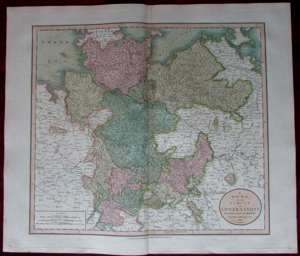 Northern Germany Circle of Lower Saxony region 1801 large John Cary antique map