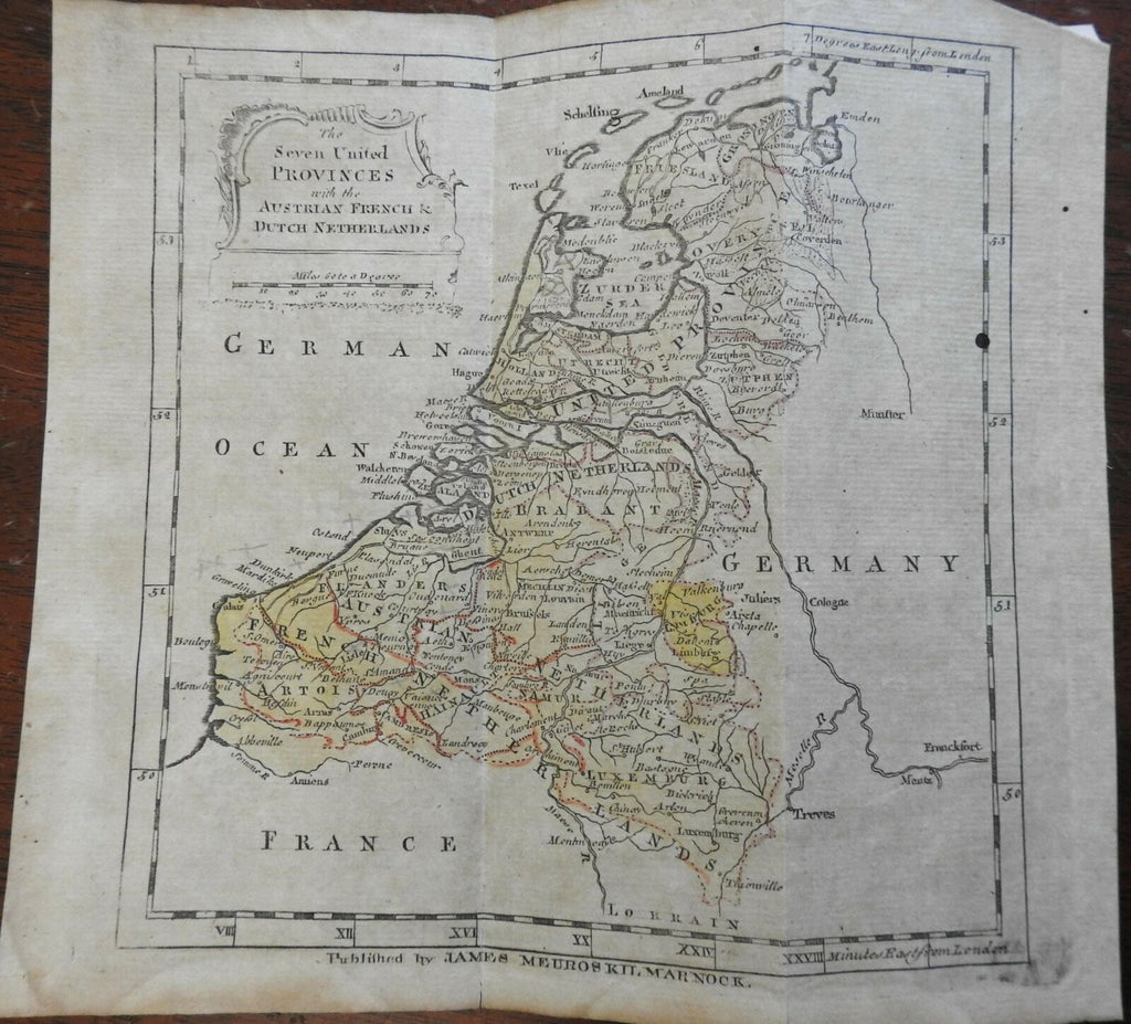 Seven United Provinces Austrian & French Netherlands 1767 Kilmarknock map