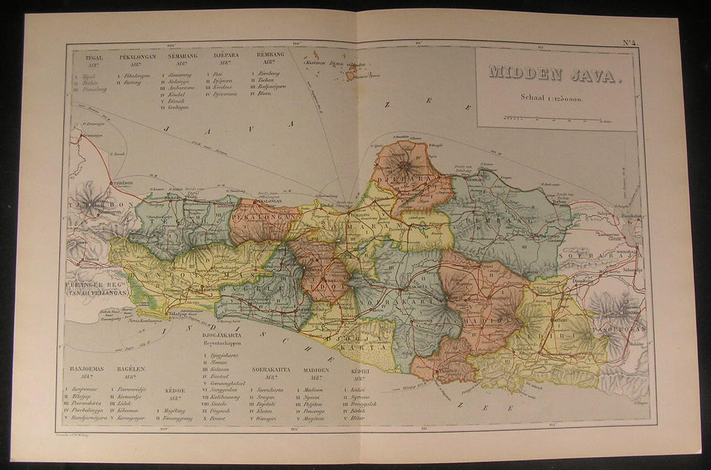 Central Java Batang South East Asia 1895 antique color lithograph map