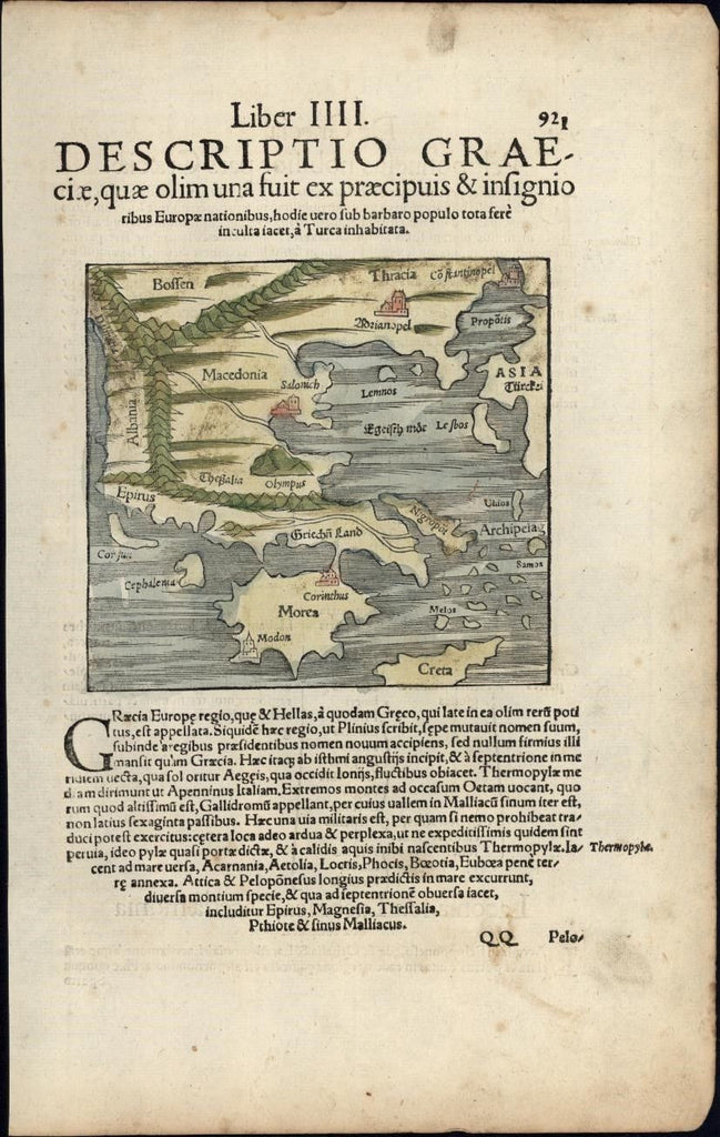 Greece Morea Crete Lemnos c.1552 Munster rare map w/ orig. early hand color
