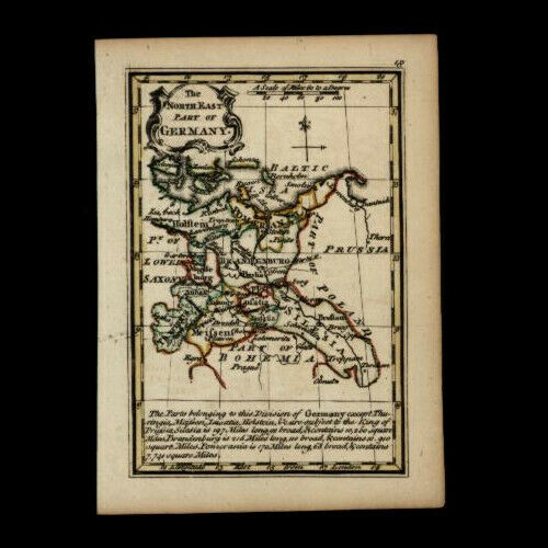 Germany Pomerania Silesia Holstein 1758 by Bowen charming miniature antique map