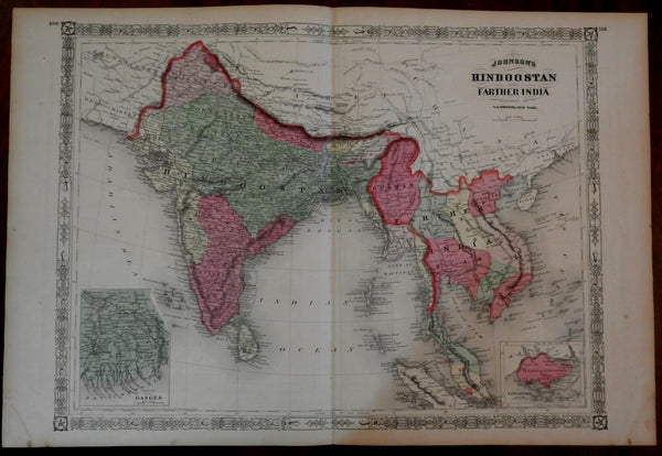 India Hindoostan Siam Tonquin Southeast Asia 1867 Johnson large map hand color