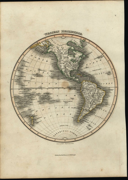 Western Hemisphere North & South America c.1819 Thomson Wyld Hewitt color map