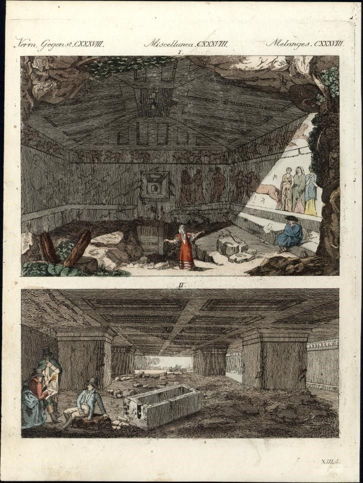 Italy Tuscany catacombs Tarquinia Discovered Etruscan Ruins 1795 print Bertuch