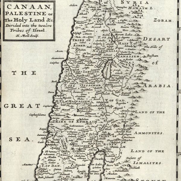 Holy Land Canaan Palestine Twelve Tribes of Israel 1709 H. Moll old engraved map