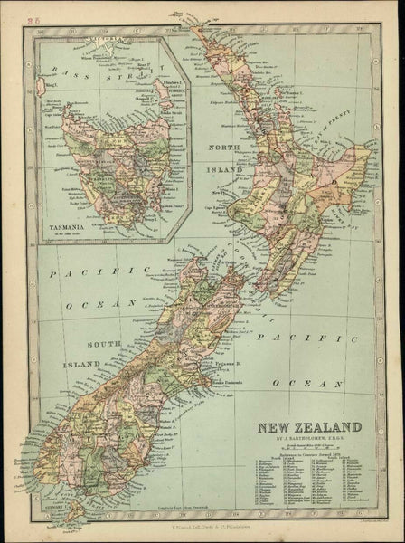 New Zealand Tasmania Van Diemen's Land Pacific 1882 antique lithographed map