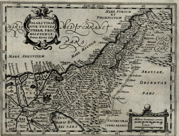 Holy Land Palestine Promised Land 1661 van der Keere Jansson miniature map