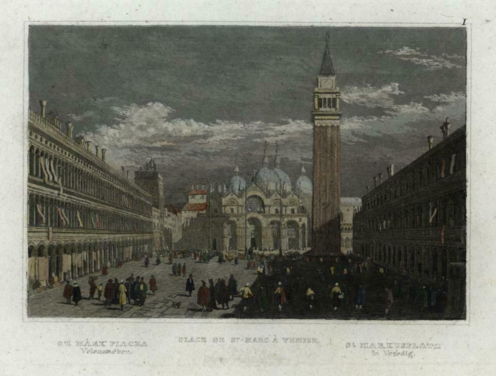 Venice Italia Italy Venezia Piazza San Marco c1850 engraved city view hand color