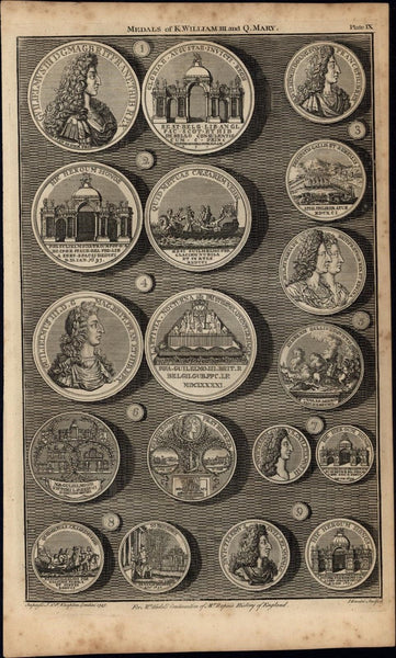 Medals of King William Queen Anne Basire 1747 British Numismatic Medal print