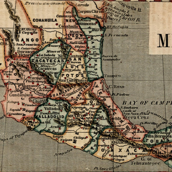 Mexico Durango 1855 Ensign & Phelps attractive small antique hand color map