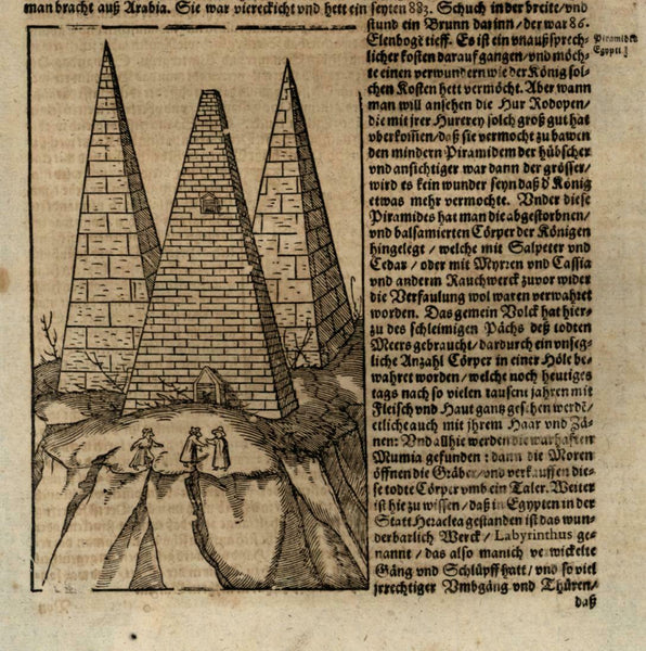Pyramids of Giza Egypt Africa 1628 Munster Cosmography wood cut print
