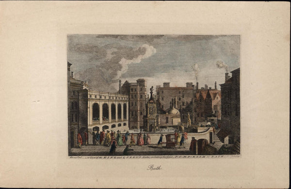 Bath England street scene costumes hats c.1820-50 antique engraved color view