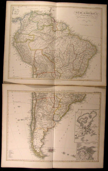 South America in 2 Maps Brazil Patagonia Rio De Janeiro 1857 scarce antique pair