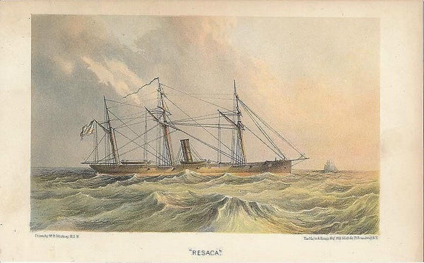 USS Resaca scarce 1867 original antique color lithograph sailing ship view