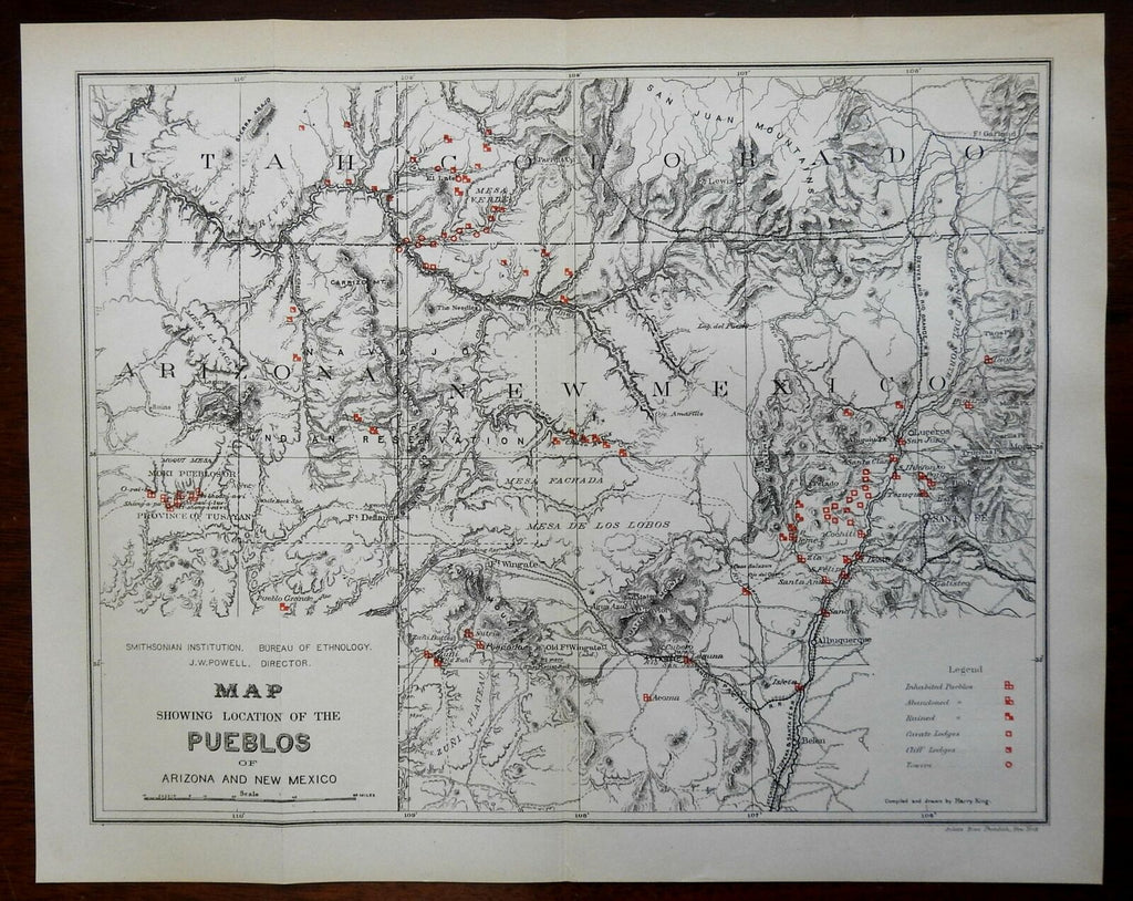 Pueblos of the American Southwest 1881 Smithsonian Institute ethnographic map