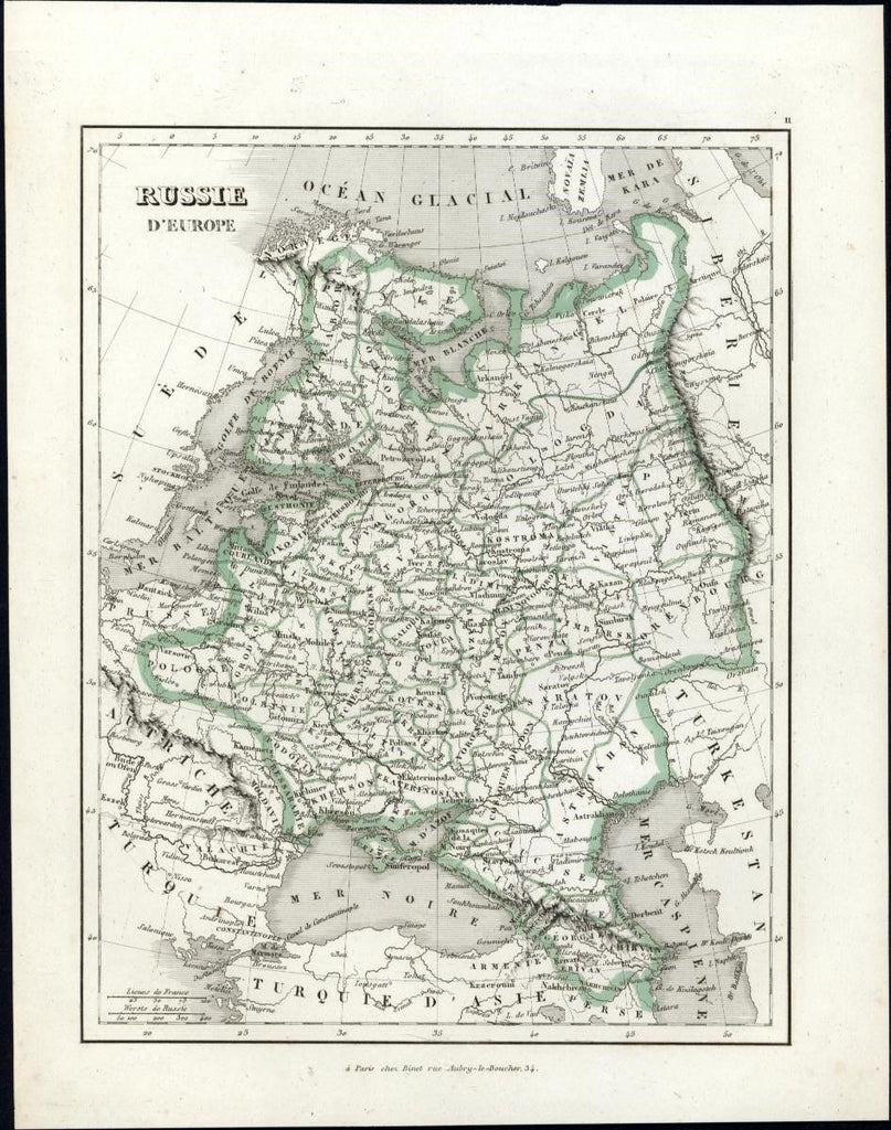 Russia in Europe Russie d'Europe c.1845 interesting old engraved hand color map