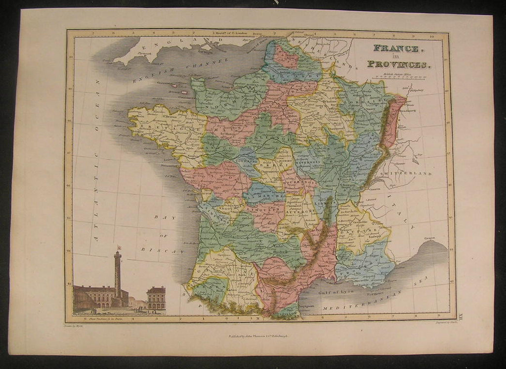 France in Provinces 1822 Thomson fine old vintage antique map